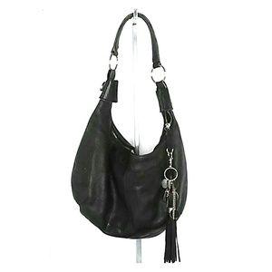 Wilson's Leather black pebble leather hobo bag